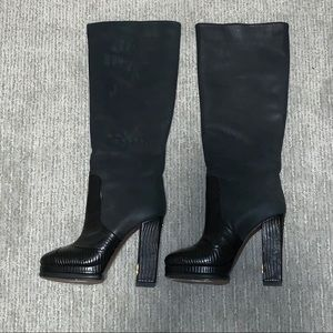 AUTHENTIC CHANEL LEATHER AND Suede KNEE HIGH BOOTS
